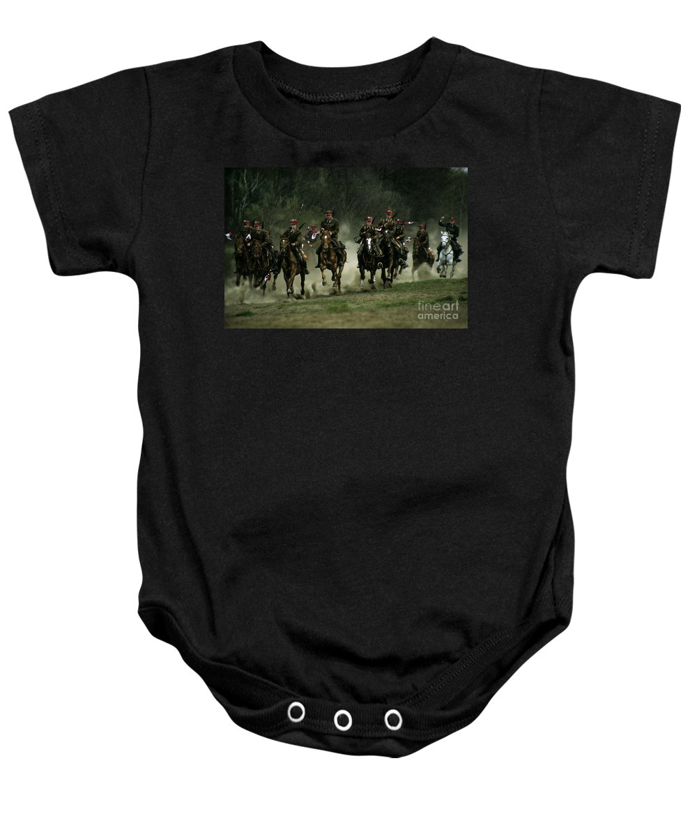 Cavalery Baby Onesie featuring the photograph Charge by Angel Ciesniarska
