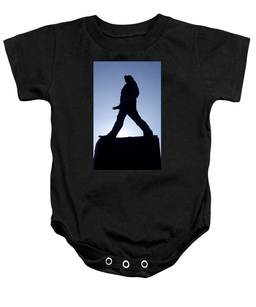 Paris Baby Onesie featuring the photograph Charles De Gaulle Statue Silhouette On The Champs Elysees In Paris France by Richard Rosenshein