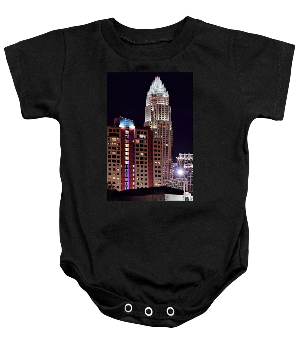 Charlotte Baby Onesie featuring the photograph Charlotte Skyscraper by Frozen in Time Fine Art Photography