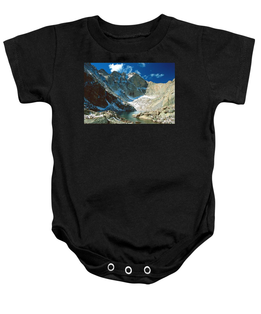 Landscape Baby Onesie featuring the photograph Chasm Lake by Eric Glaser