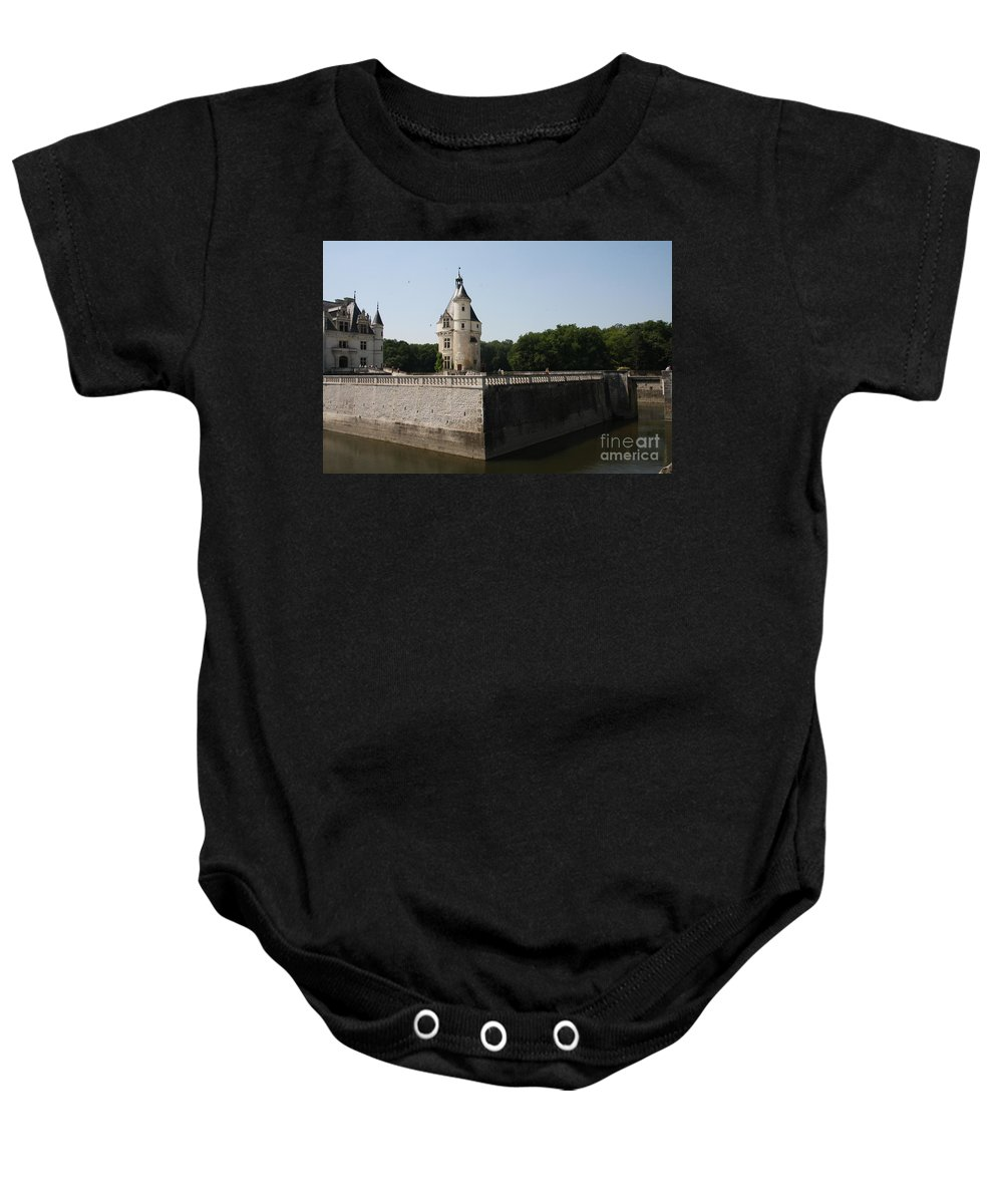 Castle Baby Onesie featuring the photograph Chateau And Moat Chenonceau by Christiane Schulze Art And Photography
