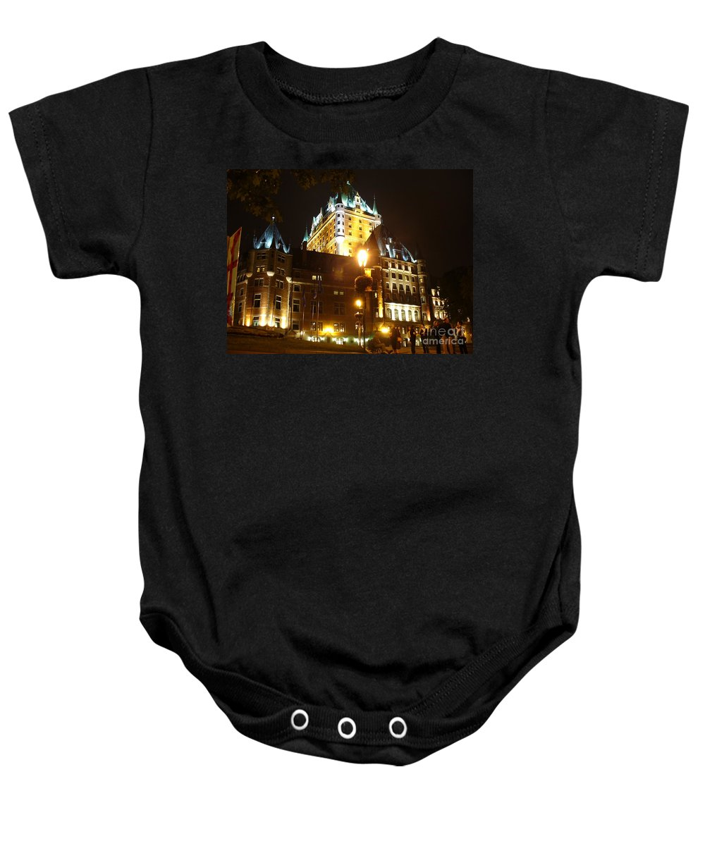Night Photography Baby Onesie featuring the photograph Chateau Frontenac At Night by Lingfai Leung