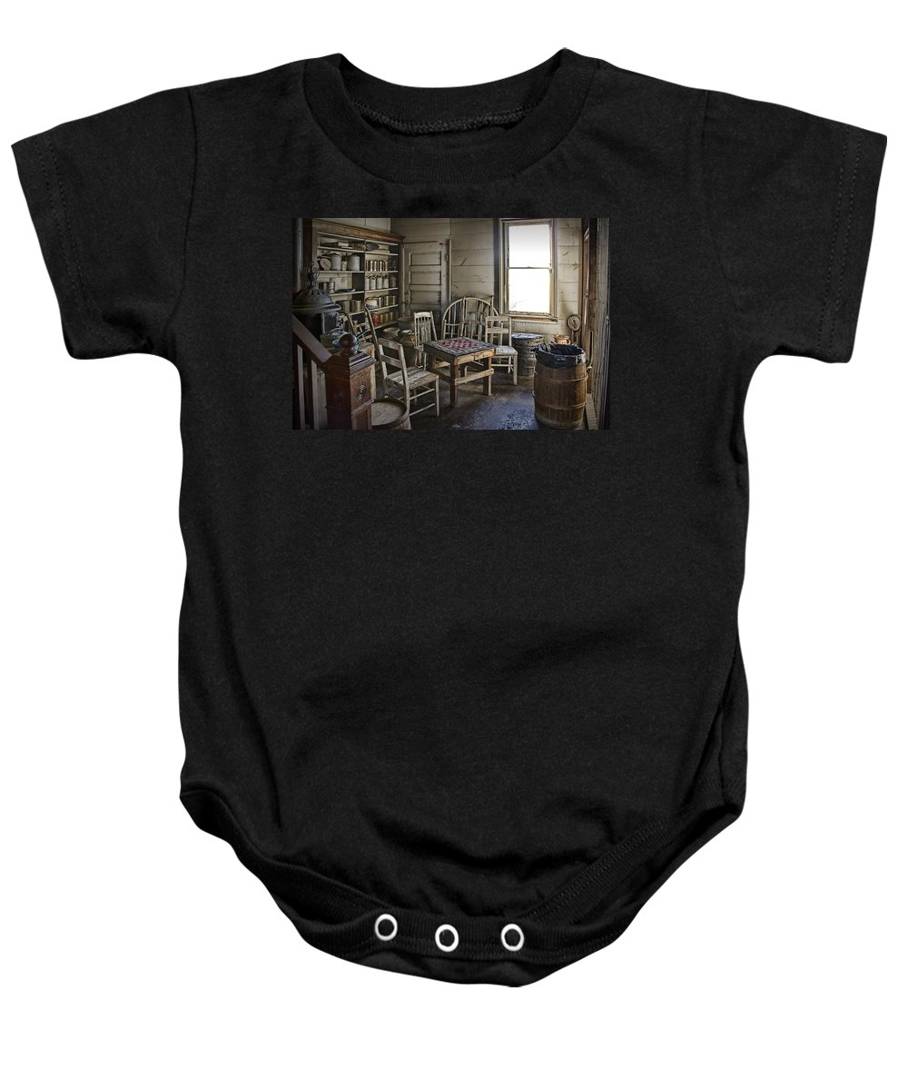 Art Baby Onesie featuring the photograph Checker Game Setting In A Back Room No. 3105 by Randall Nyhof