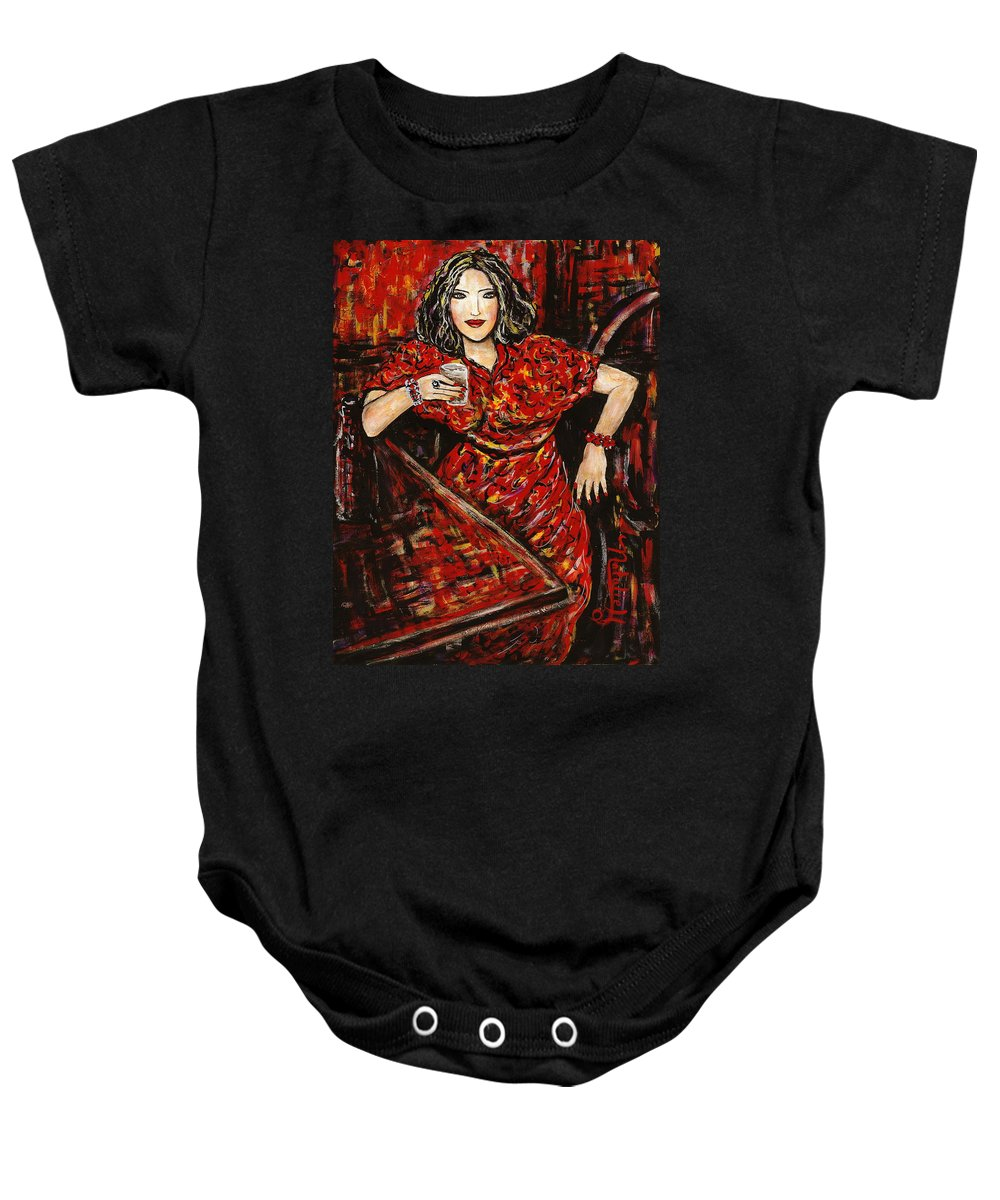 Woman Baby Onesie featuring the painting Cheers by Natalie Holland