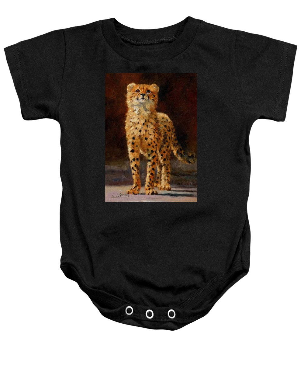 Cheetah Baby Onesie featuring the painting Cheetah Cub by David Stribbling