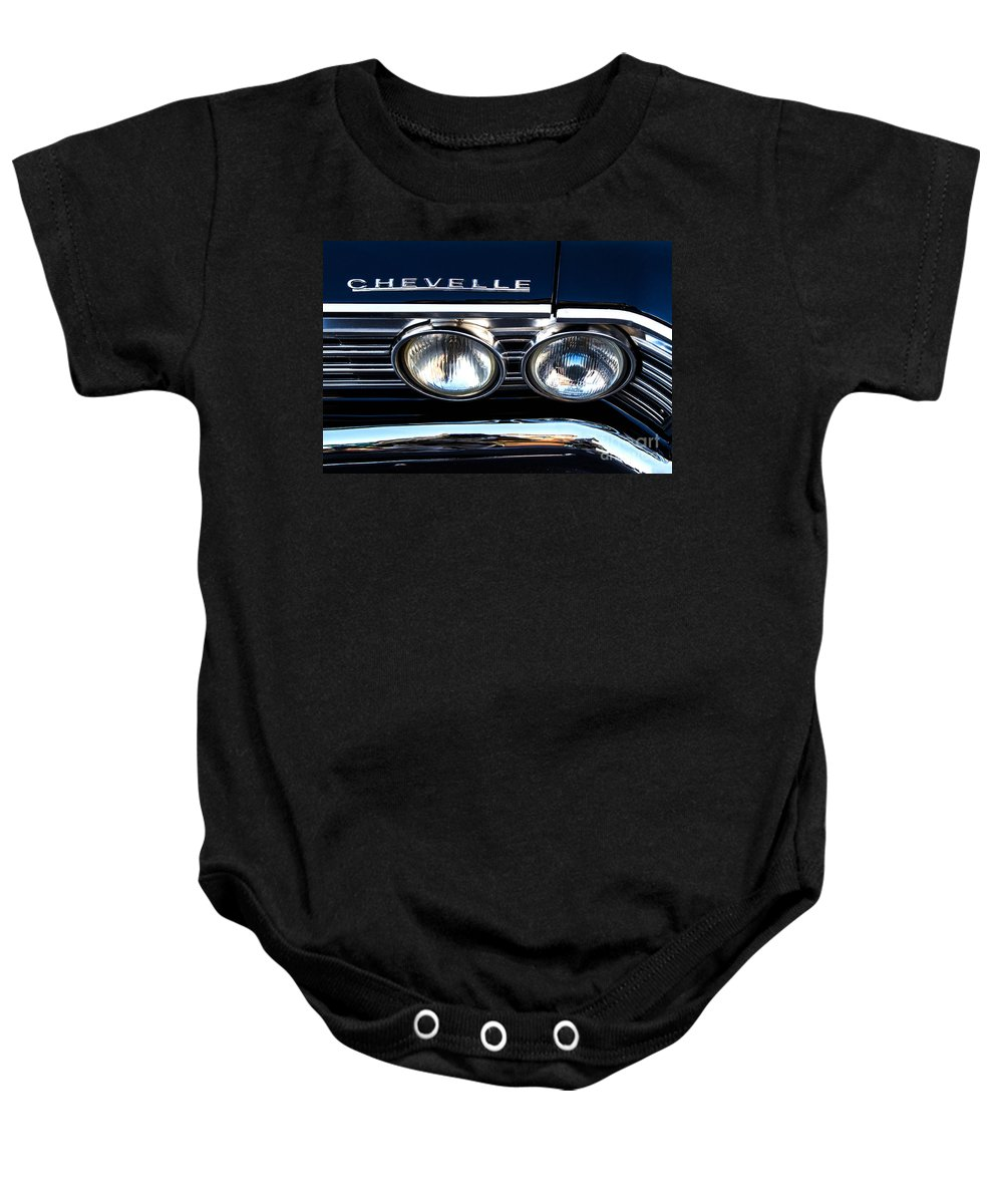 Chevelle Baby Onesie featuring the photograph Chevelle Headlight by Jerry Fornarotto
