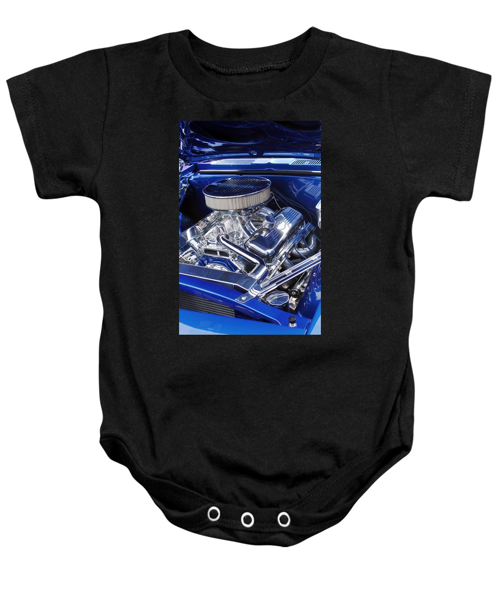 Chevrolet Baby Onesie featuring the photograph Chevrolet Hotrod Engine by Jill Reger
