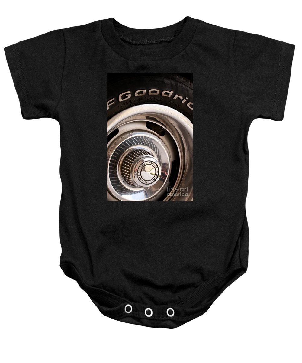 1969 Baby Onesie featuring the photograph Chevy Wheel by Rick Piper Photography