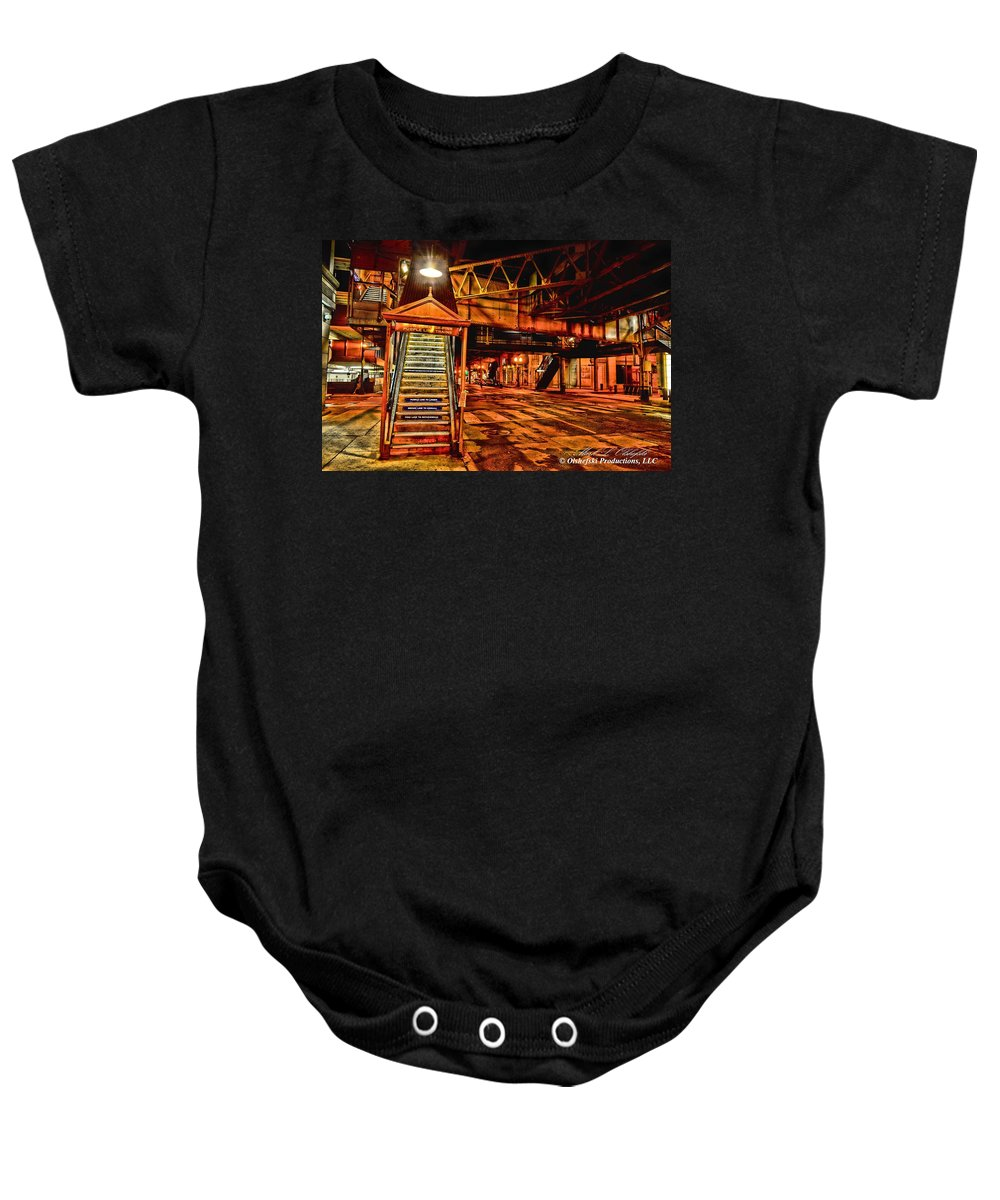 Train Station Baby Onesie featuring the photograph Chicago At Night I by Mark Olshefski