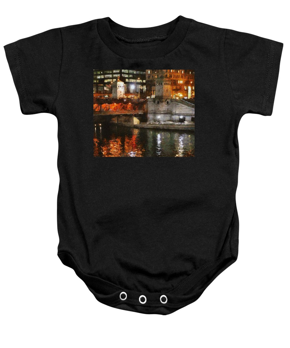 Bridge Baby Onesie featuring the painting Chicago River At Michigan Avenue by Jeffrey Kolker