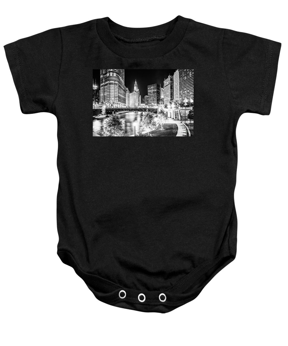 America Baby Onesie featuring the photograph Chicago River Buildings at Night in Black and White by Paul Velgos