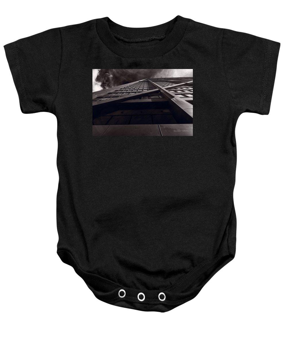 Chicago Baby Onesie featuring the photograph Chicago Structure Bw by Steve Gadomski