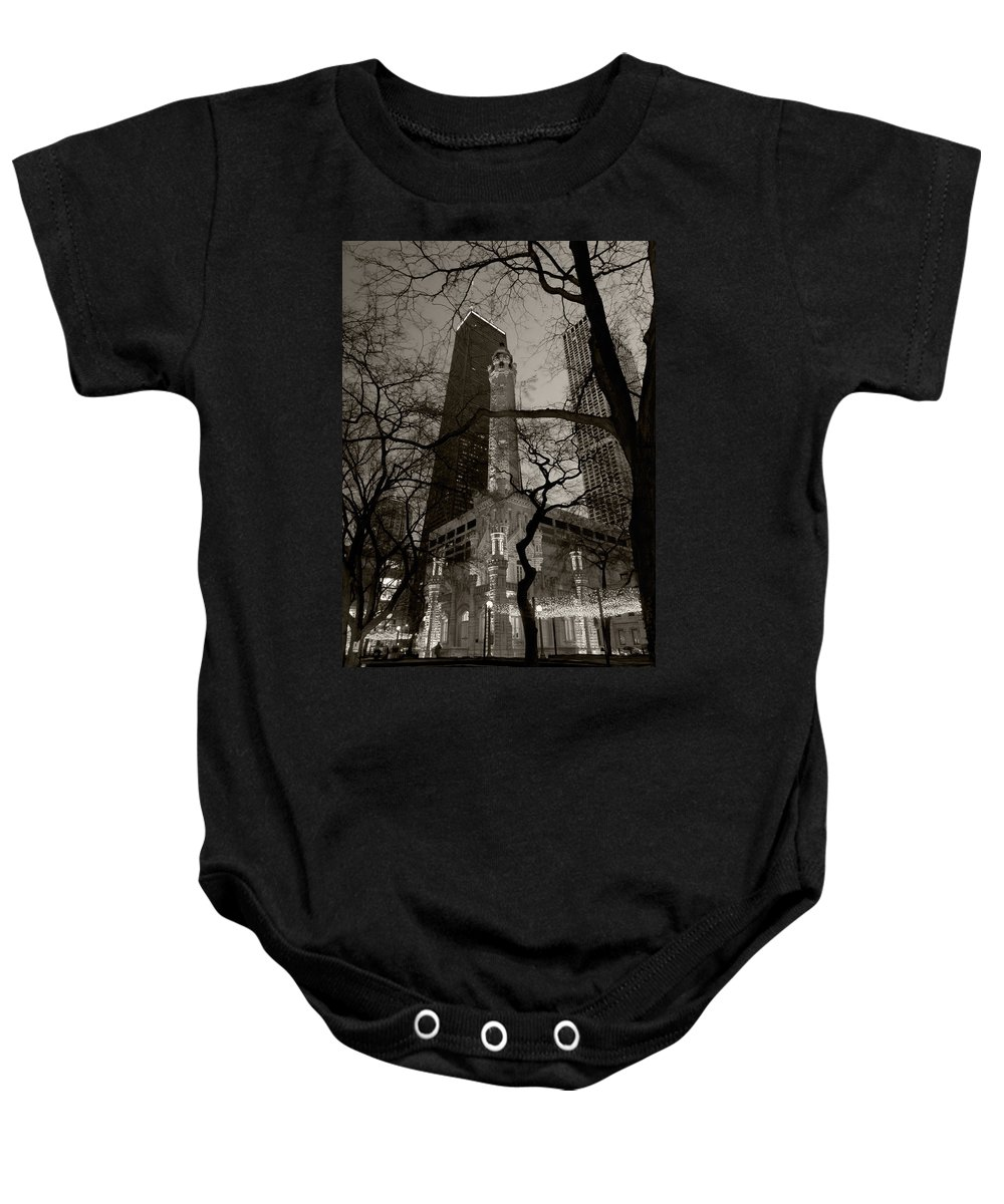 Ave Baby Onesie featuring the photograph Chicago Water Tower B W by Steve Gadomski
