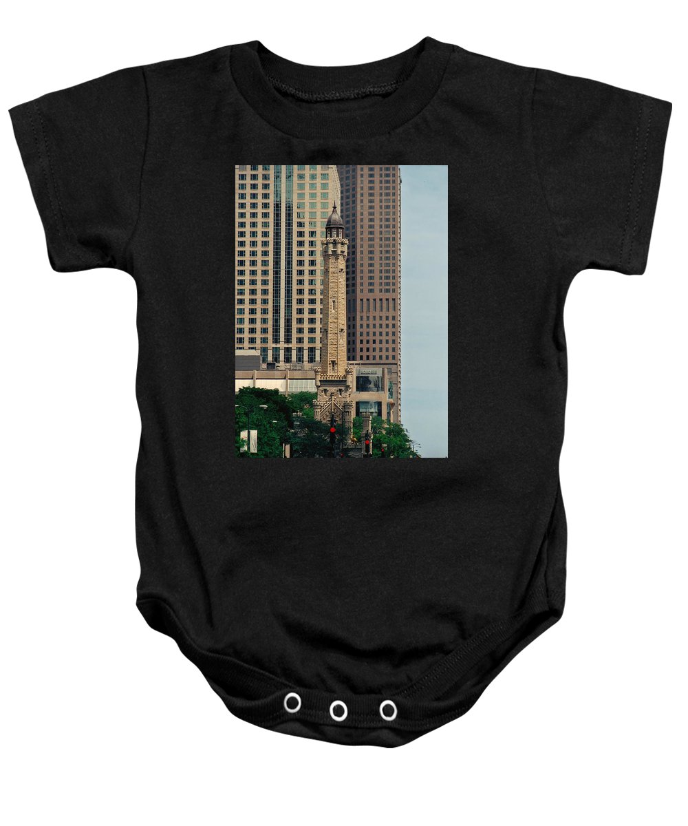 Water Baby Onesie featuring the photograph Chicago Water Tower by Peg Urban