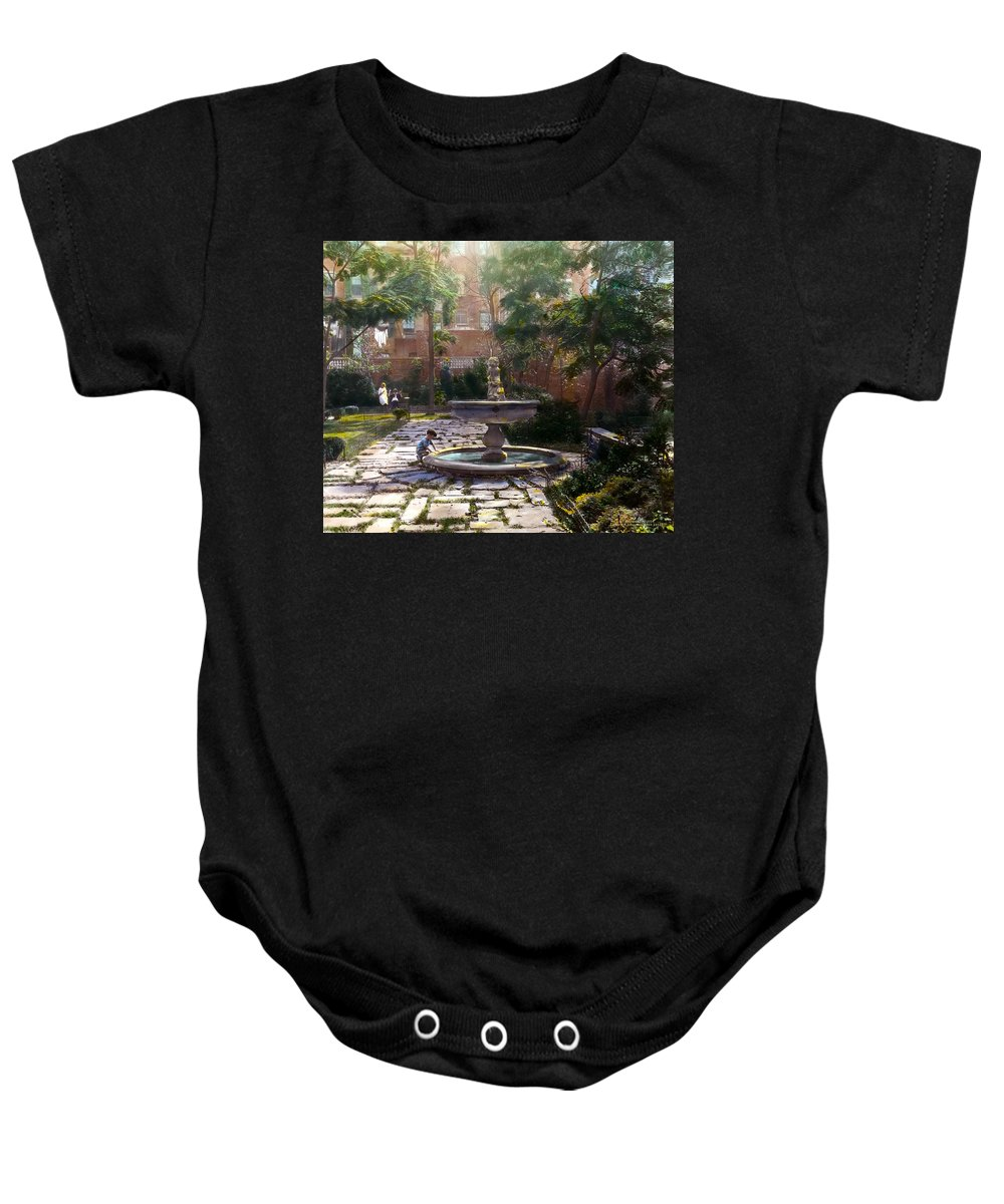 Tranquil Baby Onesie featuring the photograph Child And Fountain by Terry Reynoldson