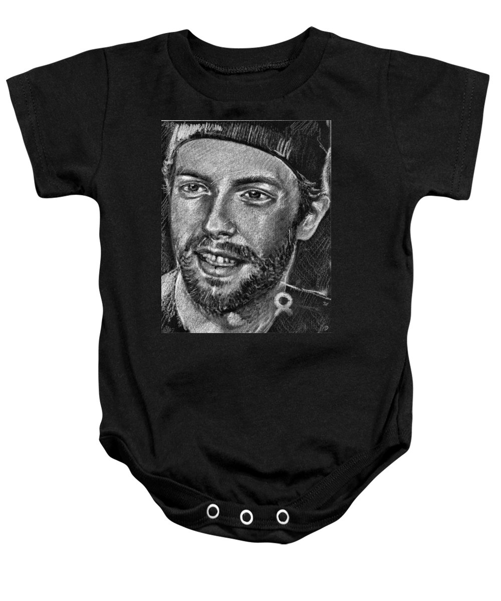 Coldplay Baby Onesie featuring the drawing Chris Martin - Coldplay by Daliana Pacuraru