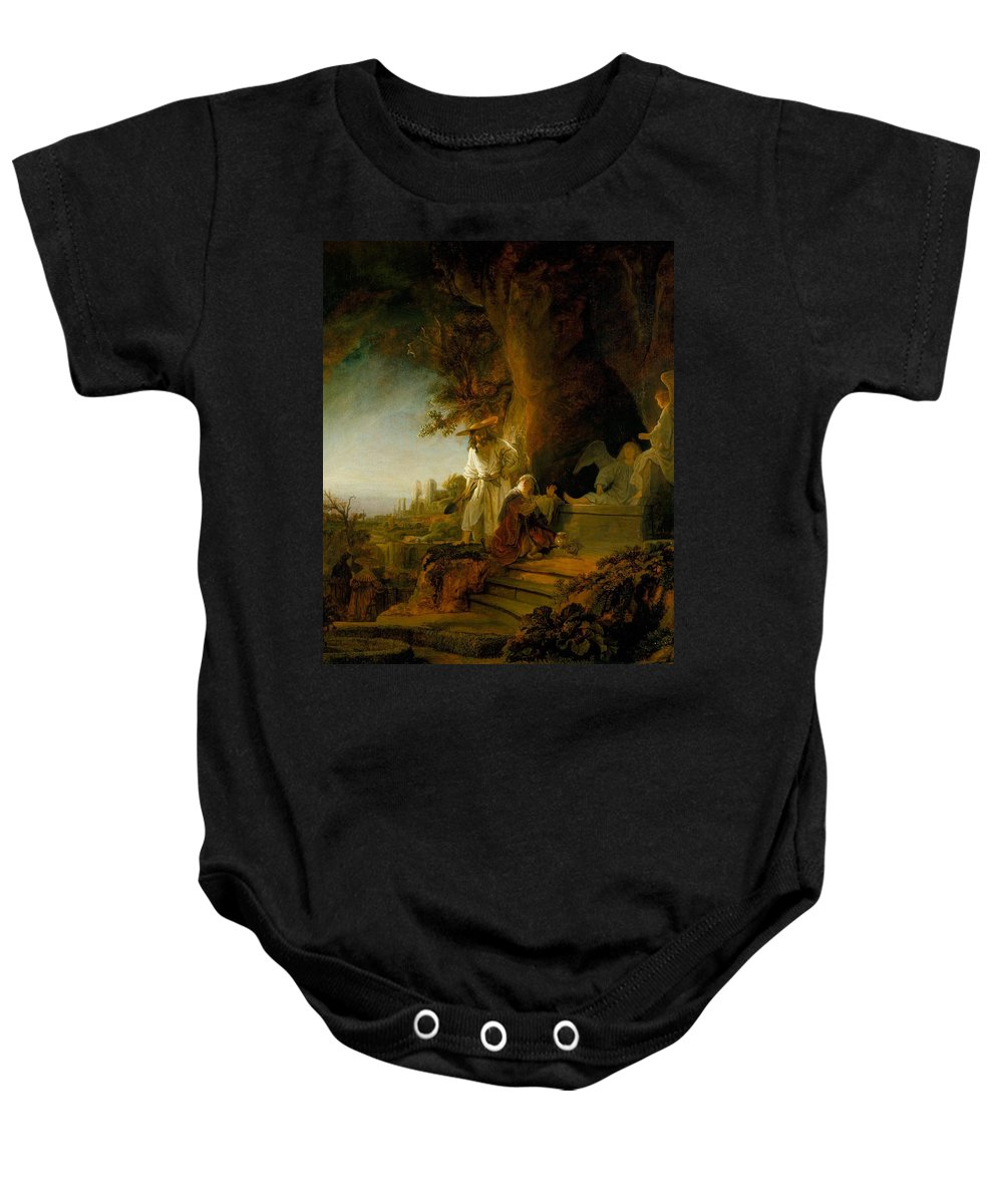 1638 Baby Onesie featuring the painting Christ And St Mary Magdalen At The Tomb by Rembrandt van Rijn