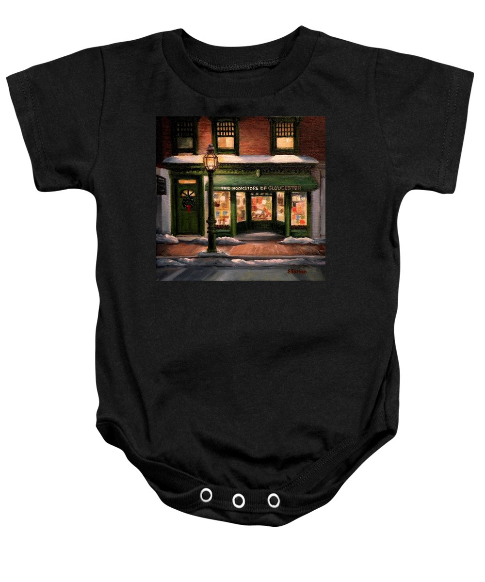 Gloucester Baby Onesie featuring the painting Christmas At The Bookstore Of Gloucester by Eileen Patten Oliver