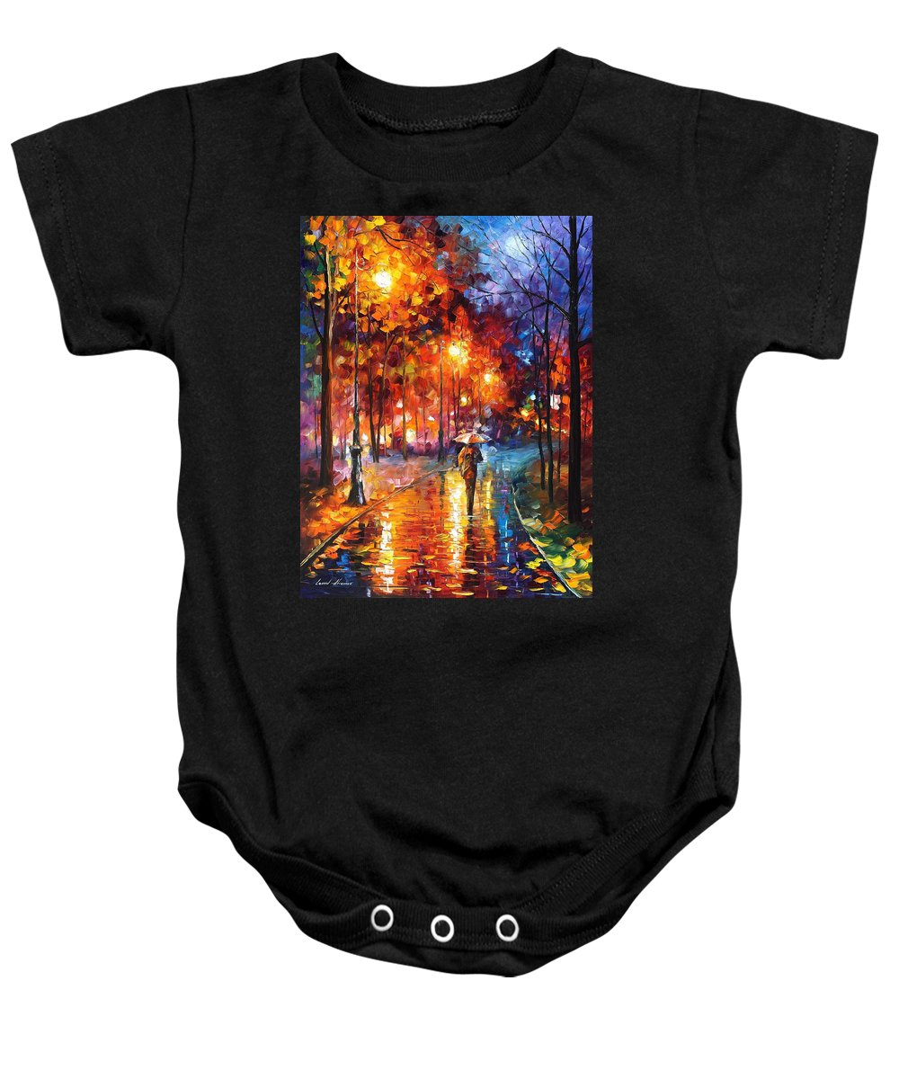Oil Paintings Baby Onesie featuring the painting Christmas Emotions - Palette Knife Oil Painting On Canvas By Leonid Afremov by Leonid Afremov