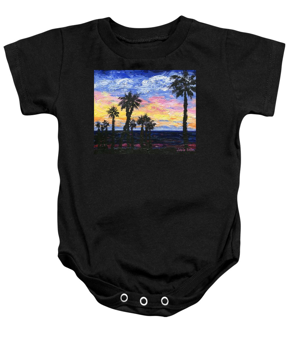 Sunset Baby Onesie featuring the painting Christmas Eve In Redondo Beach by Jamie Frier