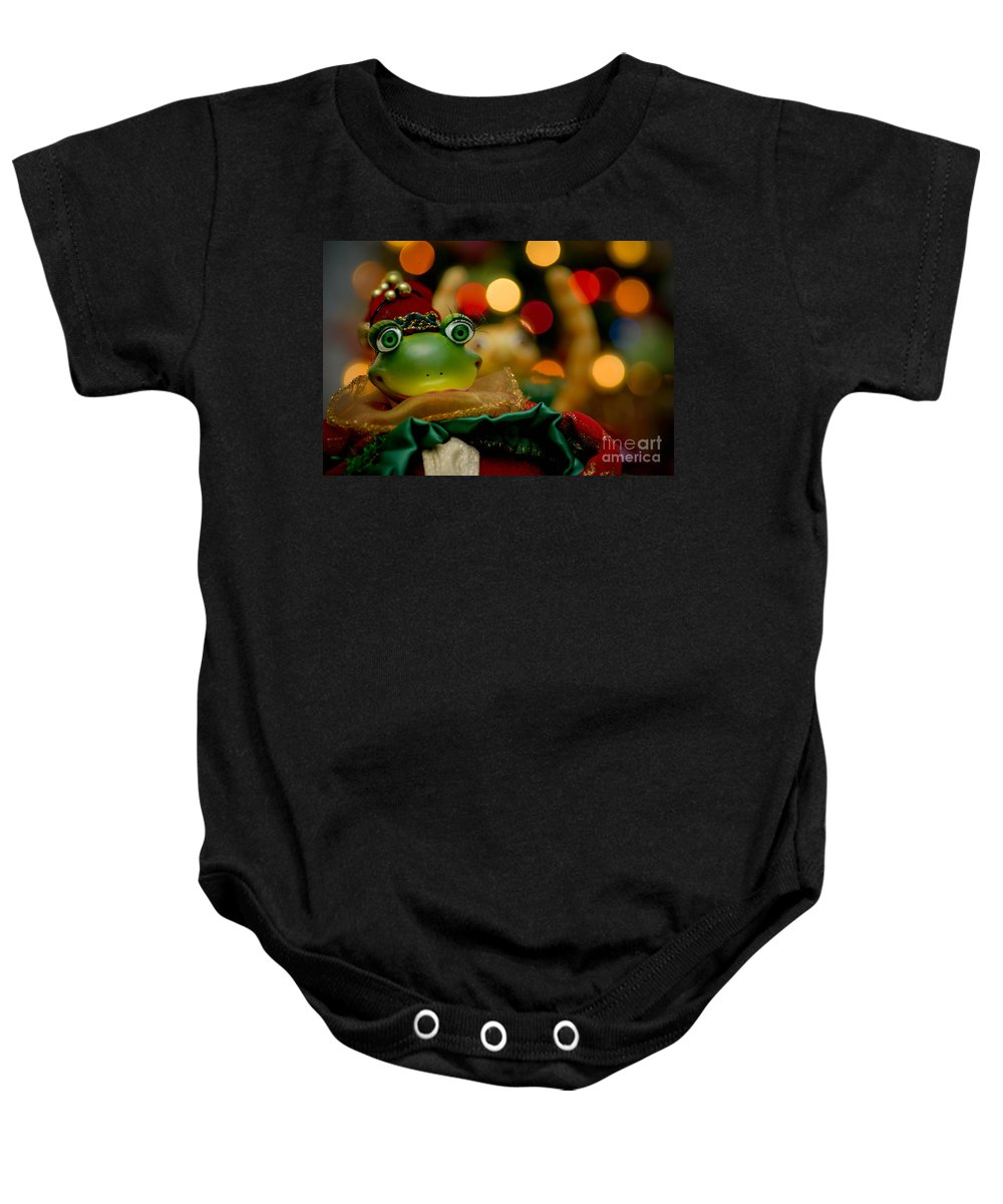 Bokeh Baby Onesie featuring the photograph Christmas Frog by Amy Cicconi