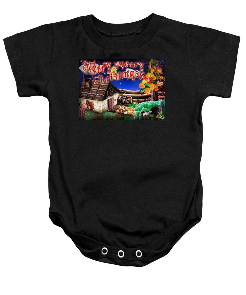 Home Baby Onesie featuring the digital art Christmas Greeting Card Iv by Alessandro Della Pietra