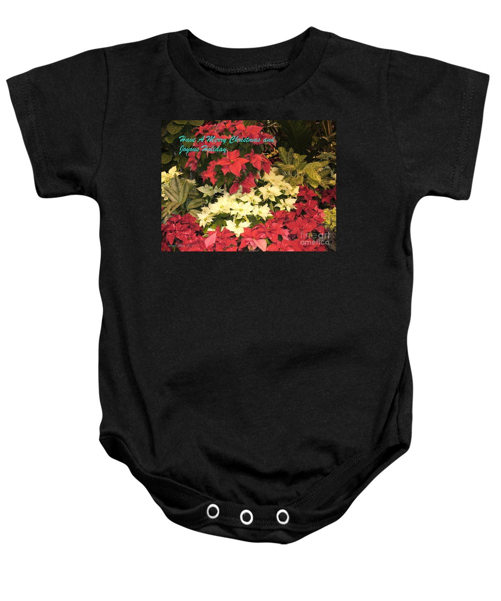 Flower Photograph Baby Onesie featuring the photograph Christmas Poinsettias by Lingfai Leung