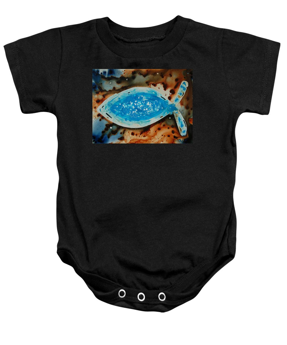 Christmas Card Baby Onesie featuring the painting Spirit - Fish Art By Sharon Cummings by Sharon Cummings
