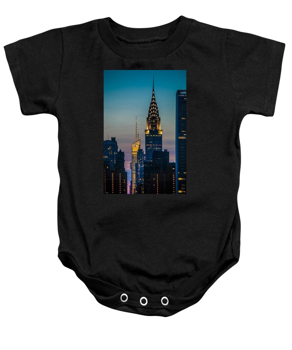 Forty Second Street Baby Onesie featuring the photograph Chrysler Building At Sunset by Chris Lord