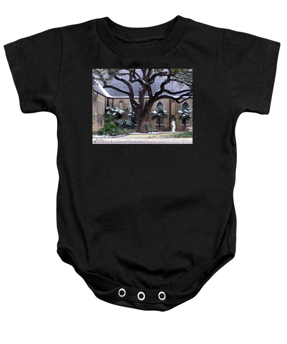 Fort Worth Texas Baby Onesie featuring the photograph Church On Rosedale With A Dusting Of Snow by Amy Hosp