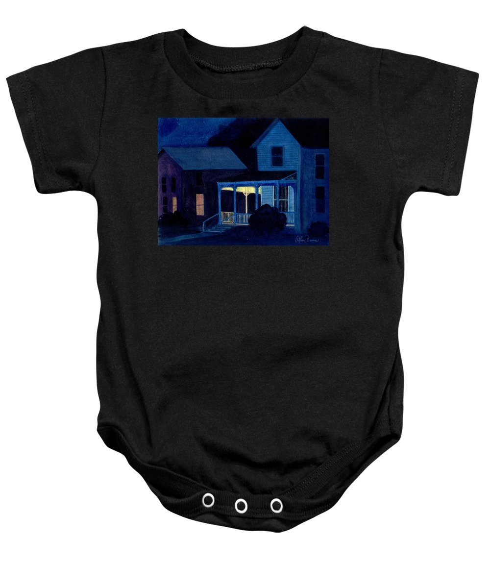 Landscape Baby Onesie featuring the painting Church Street by Arthur Barnes