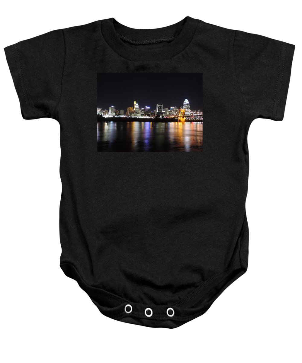 City Baby Onesie featuring the photograph Cincinnati Skyline At Night From Covington Kentucky by Cityscape Photography