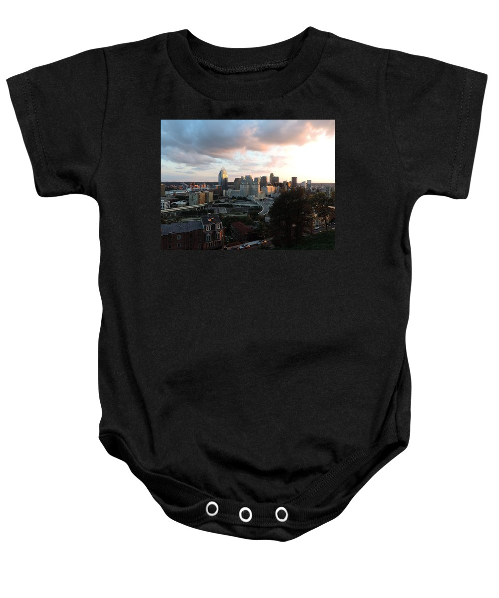 City Baby Onesie featuring the photograph Cincinnati Skyline At Sunset Form The Top Of Mount Adams by Cityscape Photography
