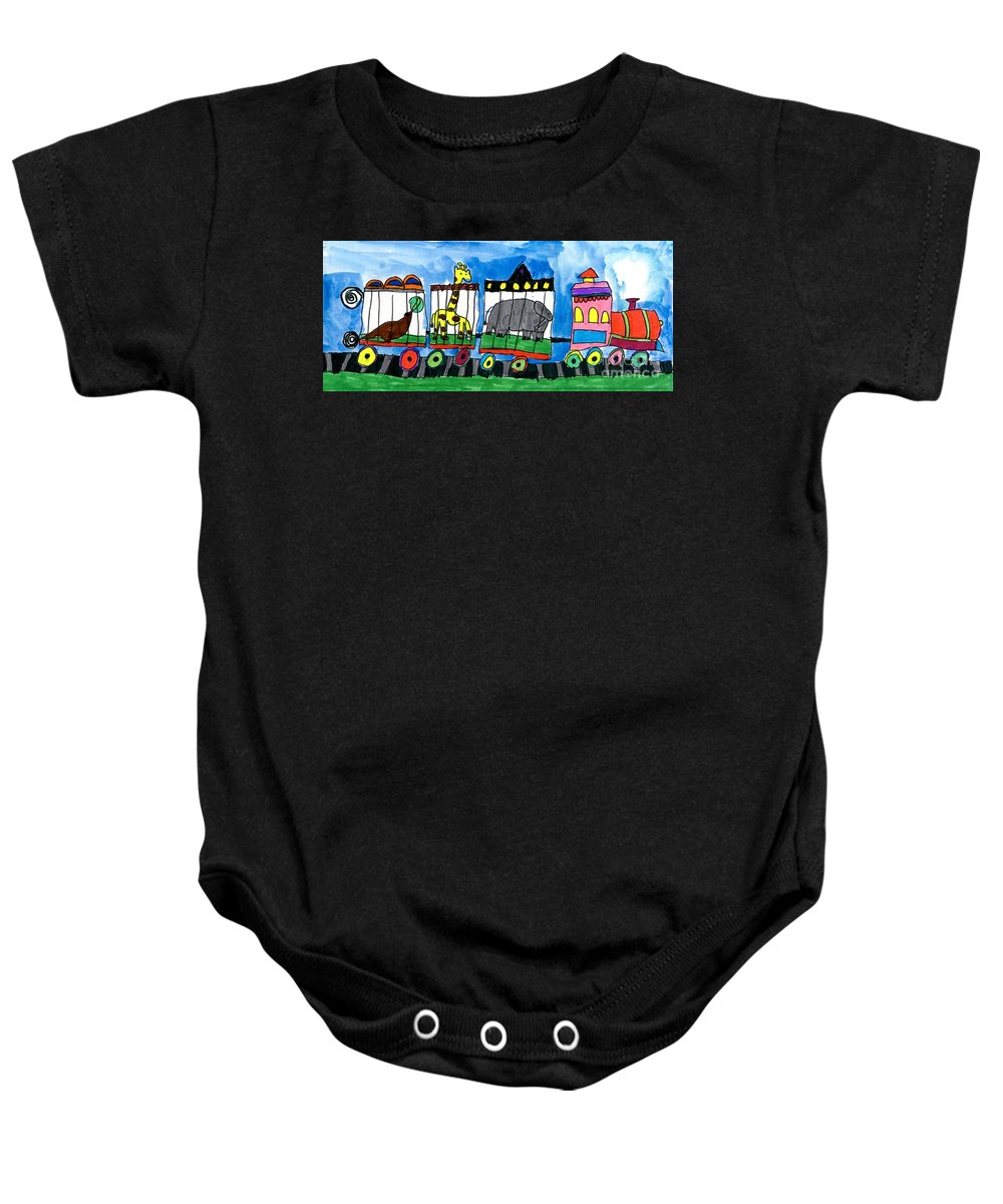 Circus Baby Onesie featuring the painting Circus Train by Max Kaderabek Age Eight