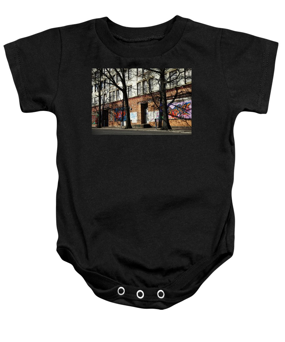 Inner City Baby Onesie featuring the photograph City Art by Karol Livote
