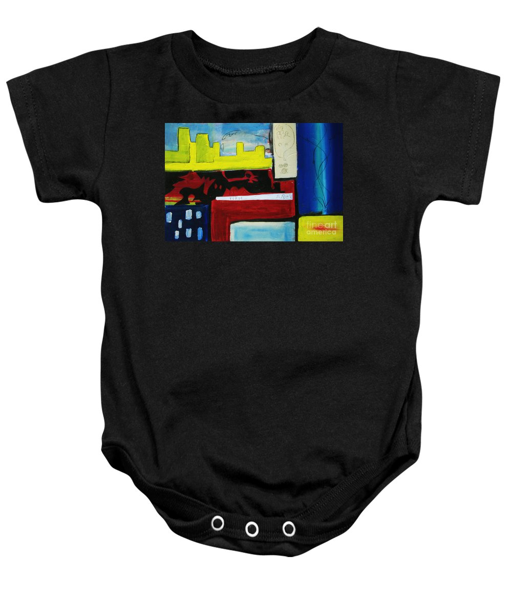 Painting Baby Onesie featuring the painting City Life by Jeff Barrett