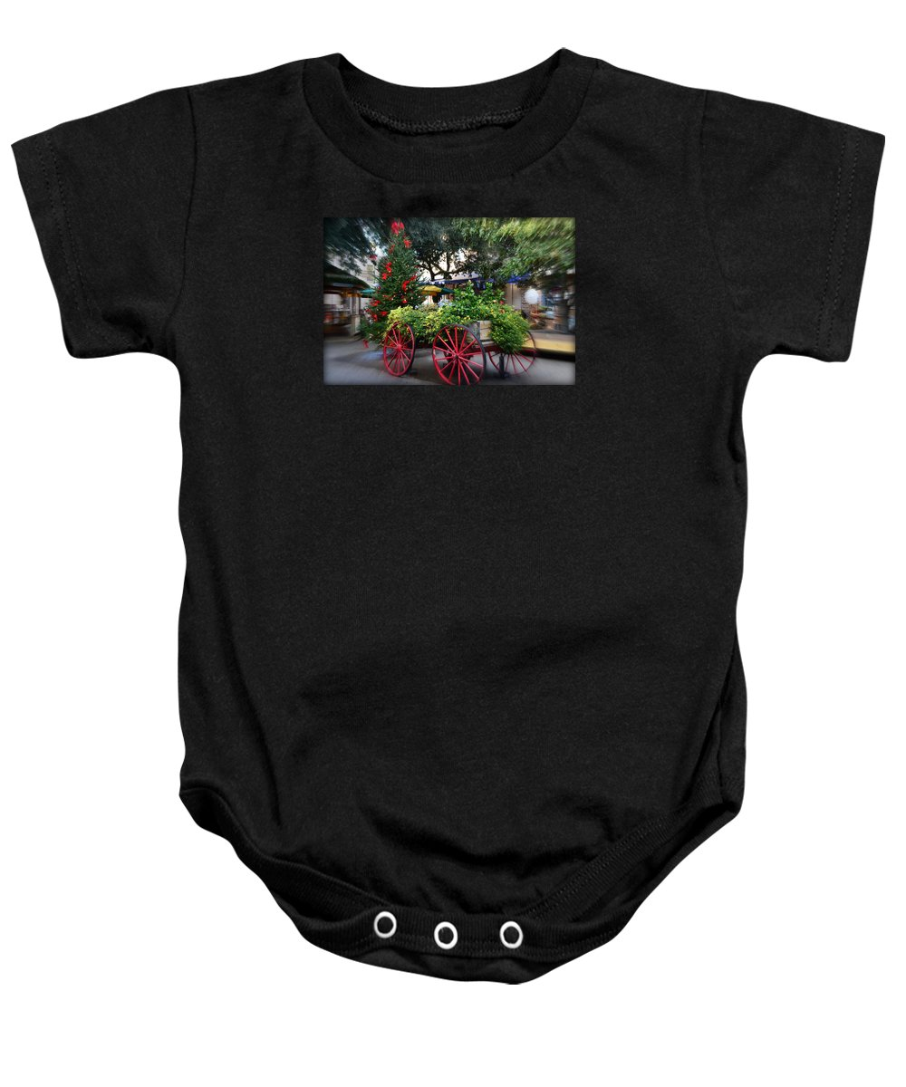 City Baby Onesie featuring the photograph City Market At Christmas by Linda Covino