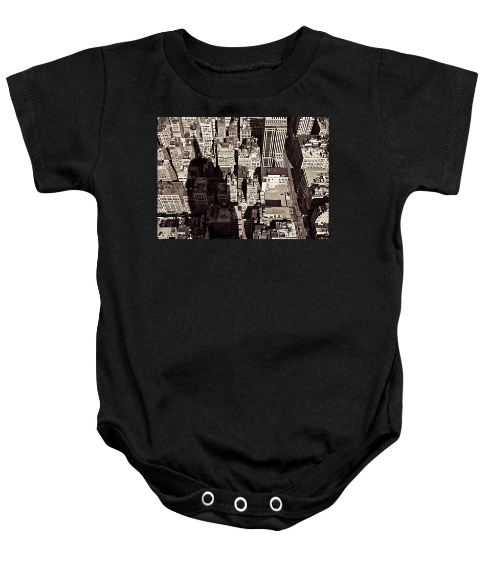 New York Baby Onesie featuring the photograph City Shadow by Dave Bowman
