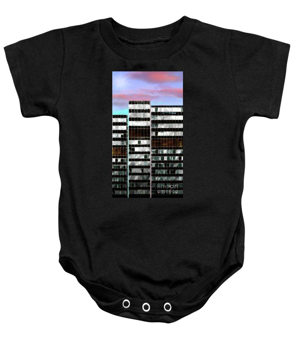 City Baby Onesie featuring the digital art Citysky by Scott Smith