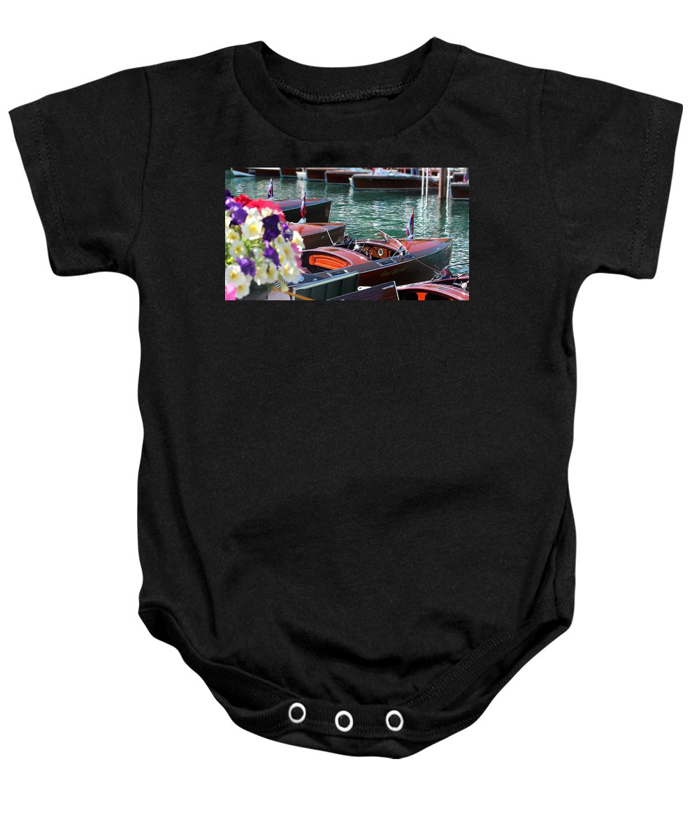Wooden Boat Baby Onesie featuring the photograph Classic Boats In Lake Tahoe by Steve Natale