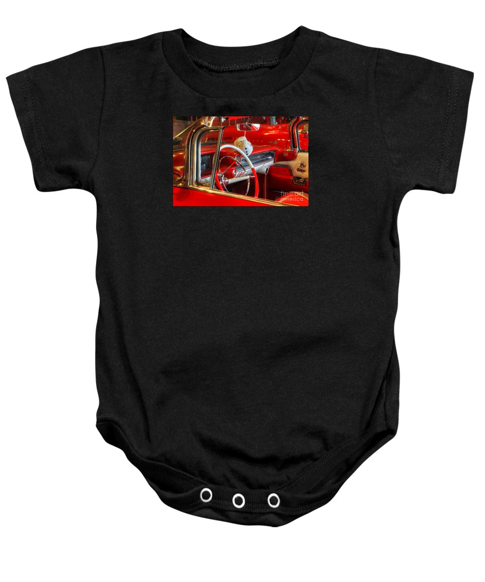 Cars Baby Onesie featuring the photograph Classic Cadillac Beauty In Red by Bob Christopher