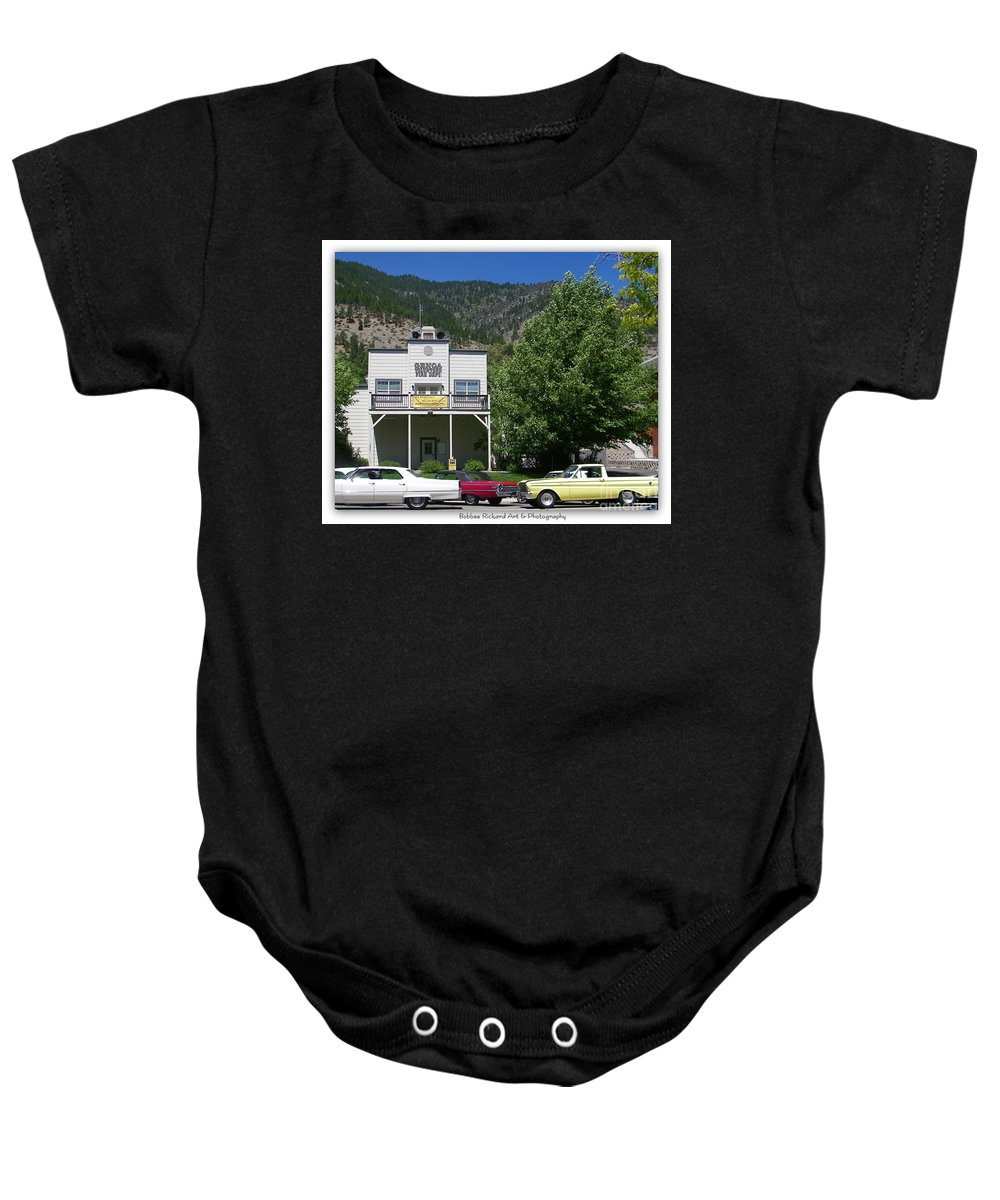 Vintage Prints Baby Onesie featuring the photograph Classic Cars In Genoa by Bobbee Rickard