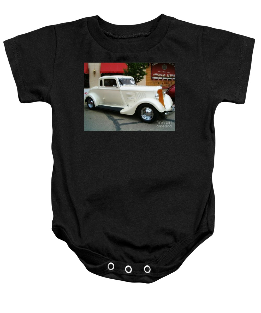 Classic Cars Baby Onesie featuring the photograph Classic White by Sara Raber