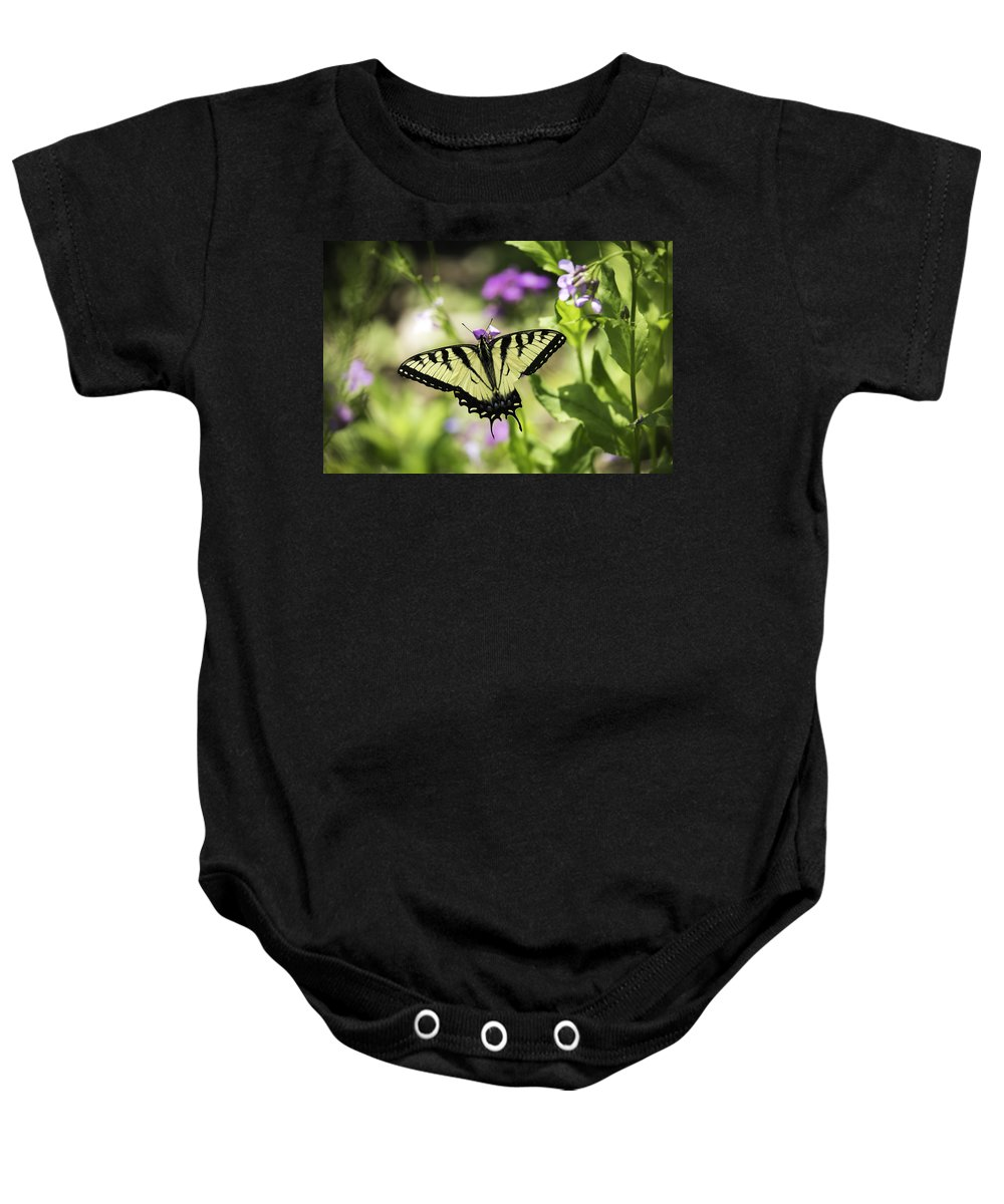 Eastern Tiger Swallowtail Baby Onesie featuring the photograph Close To Home by Thomas Young