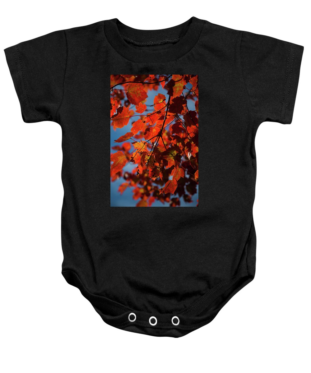 Day Baby Onesie featuring the photograph Close Up Of Bright Red Leaves With Blue by Jenna Szerlag