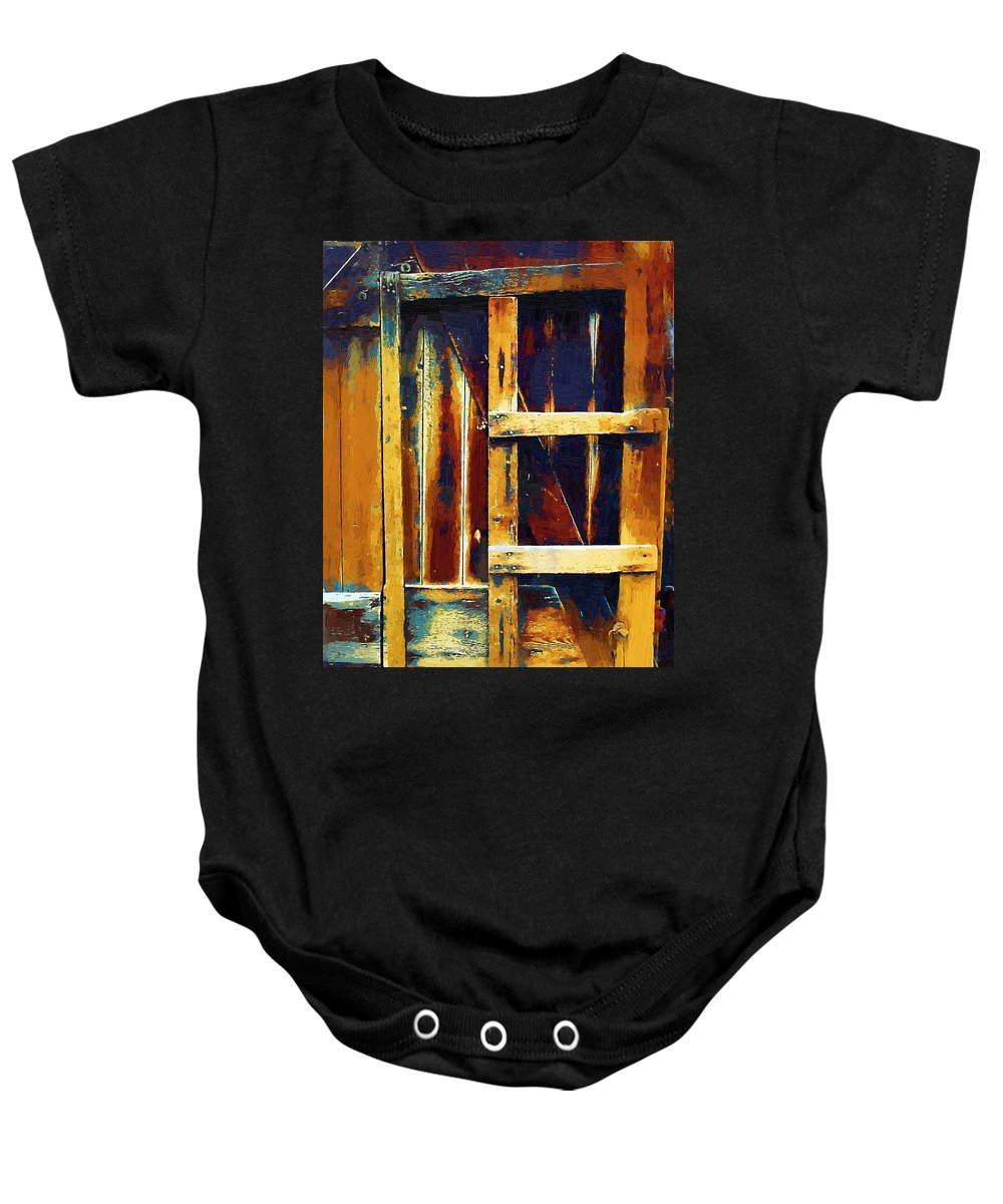 Barn Baby Onesie featuring the painting Cobbled Together by RC DeWinter