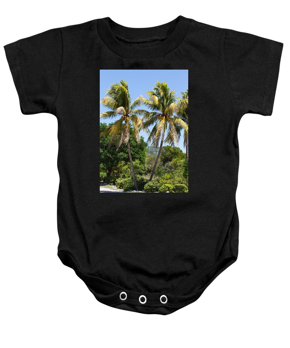 Sky Baby Onesie featuring the photograph Coconut Palm Trees In Key West by John M Bailey