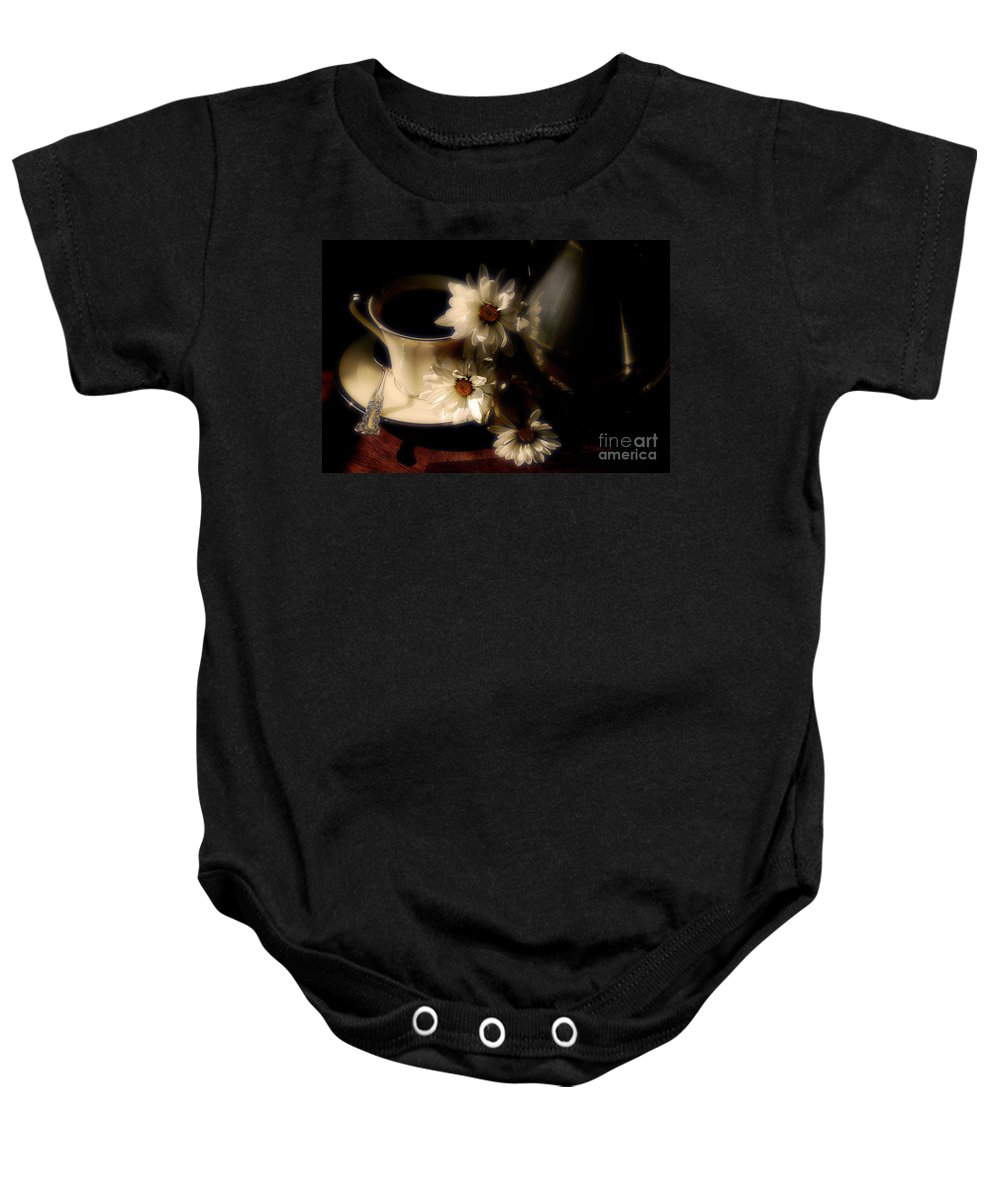 Coffee Baby Onesie featuring the photograph Coffee And Daisies by Lois Bryan