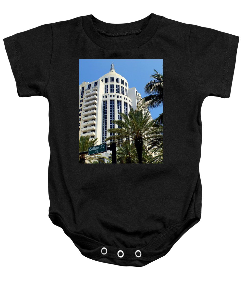 Miami Baby Onesie featuring the photograph Collins Ave by Karen Wiles