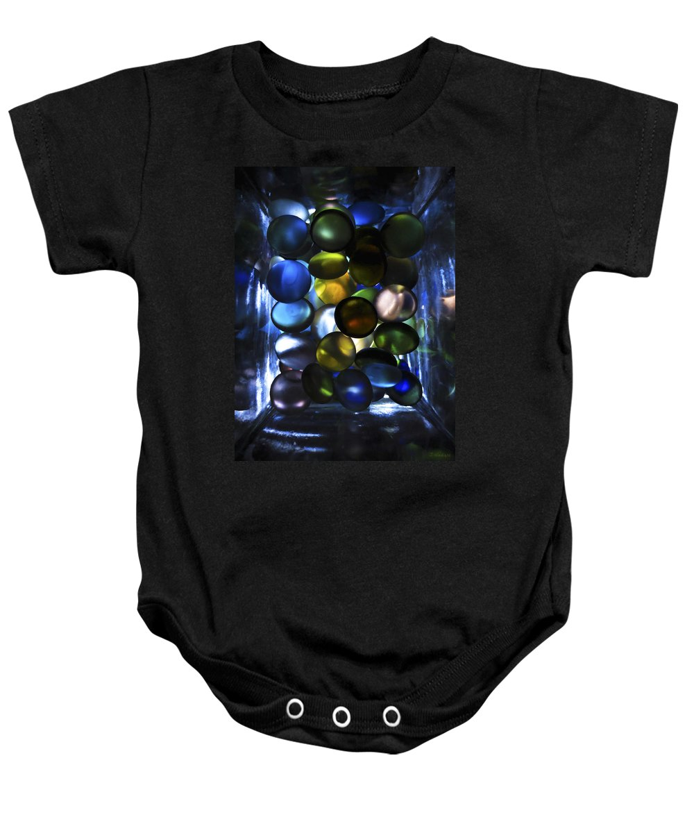 Baby Onesie featuring the photograph Colored Stones Of Light by Joseph Hedaya